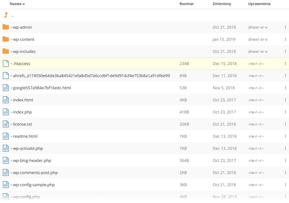 Gdzie znalezc plik htaccess w folderze WordPressa