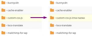 Zmiana nazwy folderu z wtyczkami spowoduje wylaczenie dotychczasowych wtyczek