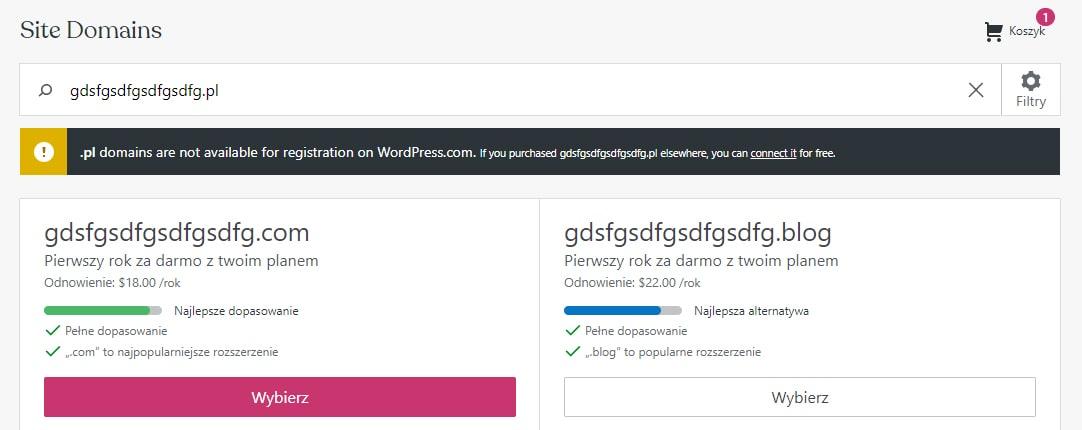 czy blog na wordpress jest darmowy domena